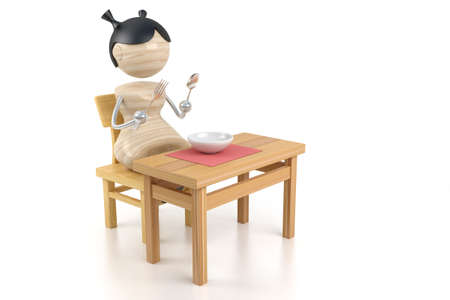 suite: girl on a kitchen is at a table
