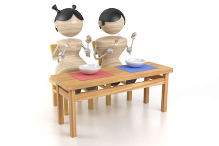 boy and girl on a kitchen is at a table