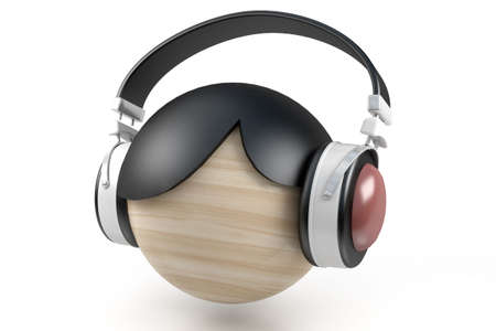 music. Abstraction - man in the head sets Stock Photo