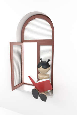 windowsill: girl sit in window-sill and read book Stock Photo
