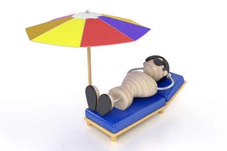 lies: man lies on a deck-chair and zagoraet Stock Photo