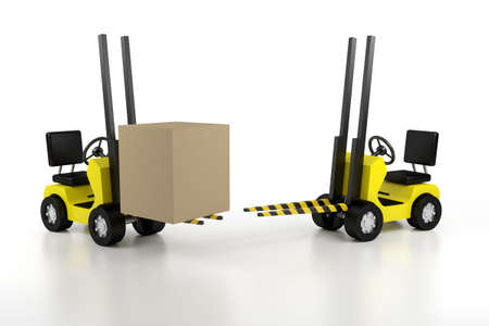convey: lift loader with the load and empty