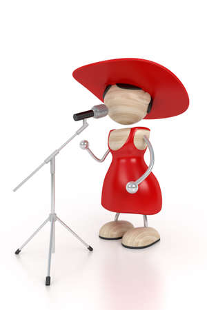 soloist: red woman and microphone