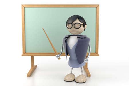 teacher stands in the clean board