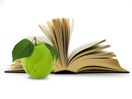 Open Book and globe in green apple. Concept education photo