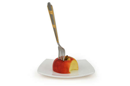 Red apple in plate. Concept diet food Stock Photo