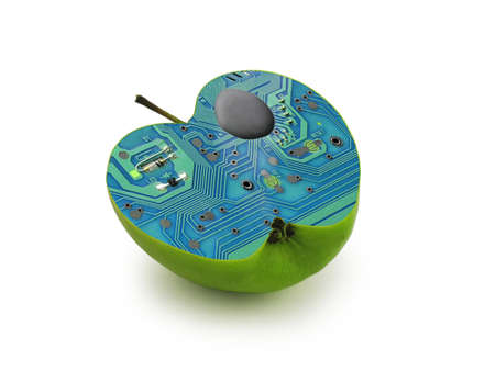 Electric green apple. Industrial technology and genetic concept.