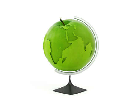 Globe earth in green apple. Concept education Stock Photo