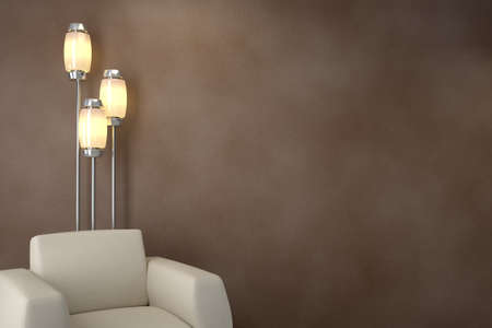 interior lighting: Design interior. Armchair in modern room