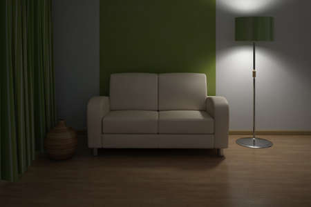 Evening Design interior. Sofa in Modern living room. Stock Photo