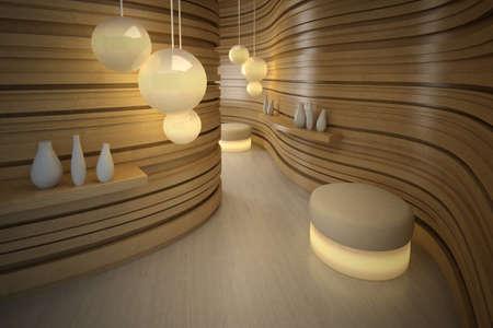 pouffe: Lighting pouffe in modern room. Design interior