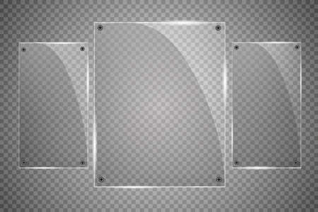 Glass plates are installed. Vector glass banners on a transparent background. Glass. Glass paintings. Color frames.