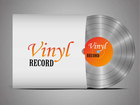 A realistic vinyl record with a cover. Disco. Retro design. Foreground. Music. Live music. Ilustração