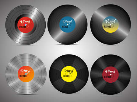 A realistic vinyl record with a cover. Disco. Retro design. Foreground. Music. Live music. 向量圖像