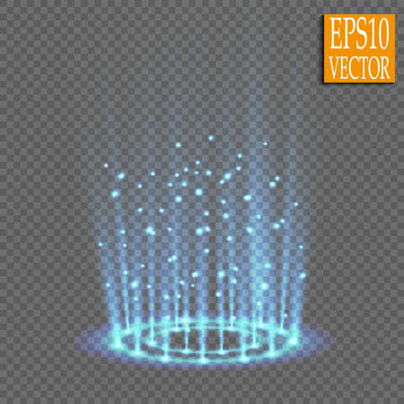 Magic fantasy portal. Futuristic teleport. Light effect. Blue candles rays of a night scene with sparks on a transparent background. Empty light effect of the podium. Disco club dancefloor.