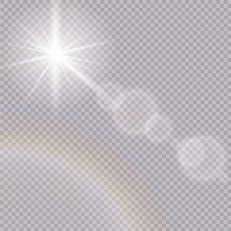 A Vector transparent sunlight special lens flare light effect.