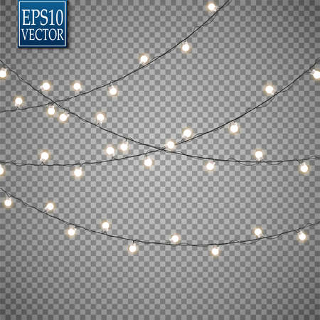 Christmas lights isolated on transparent background. Set of golden xmas glowing garland. Vector illustration