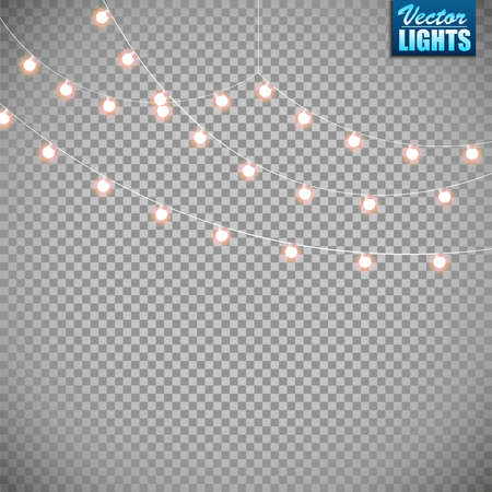 Christmas lights isolated on transparent illustration. Illustration