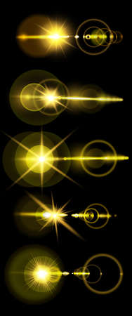 A set of golden solar lens flare a translucent special design of the light effect. A vector blur in the light of radiance. Isolated transparent background. Element of decor. Horizontal rays of light
