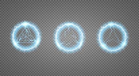 Foudre en boule, effet de lumière Cadre rond abstrait avec éclair. Illustration vectorielle. Vecteurs