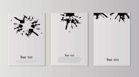 A set of A4 sheets with black blots sticking on a sheet of paper. Black abstract design. Ink paint on brochure on white background. Liquid ink on a piece of paper. The banner