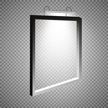 A frame with light weighing on the wall. Frame for the image, rectangular, rectangular frame and the lamp on the wall, vector illustration