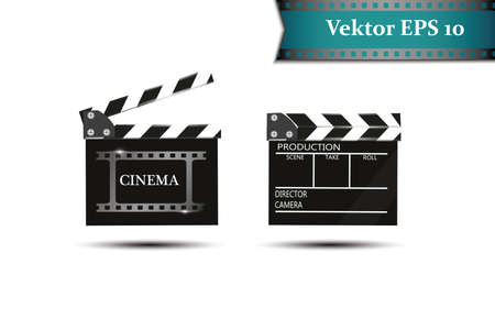 A set of clapper, on a white background with natpisyaami kamkra.Realistichesky cinema