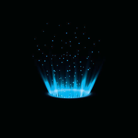 Magic portal of fantasy. Futuristic teleport. Light effect. Rays of light. Night scenes and sparks on a black background. Empty catwalk light effect. Vector graphics.