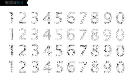 Lettrage de pinceau d'encre noire d'alphabet de calligraphie écrite à la main, chiffres et signes de ponctuation, style de police grunge avec éclaboussures d'encre. Vecteur