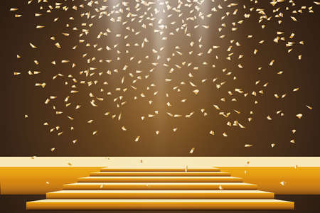 Golden podium with a spotlight on a dark background, with fog and confetti, the first place, fame and popularity. Vector illustration