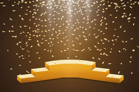 Golden podium with a spotlight on a dark background, with fog and confetti, the first place, fame and popularity. Vector illustration.