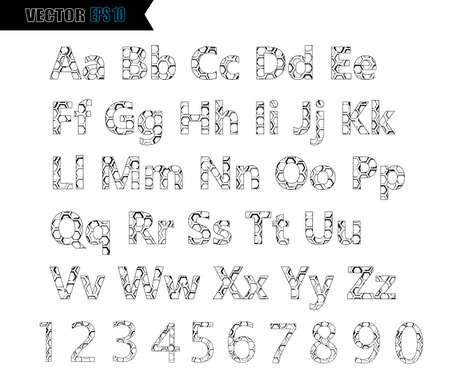 Alphabet font template. Set of letters and numbers line design. Vector illustration