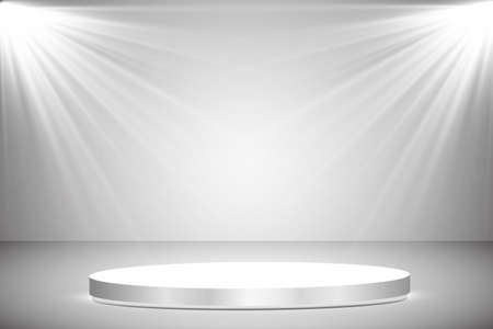 Round podium, pedestal or platform illuminated by spotlights on grey background. Stage with scenic lights. Vector illustration Иллюстрация