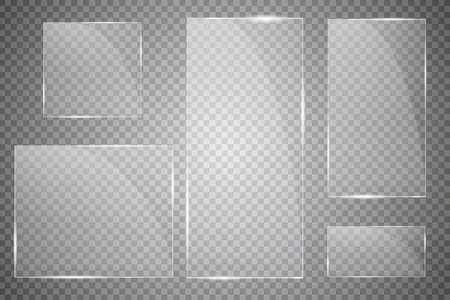 Vector modern transparent glass plates set on transparent background.