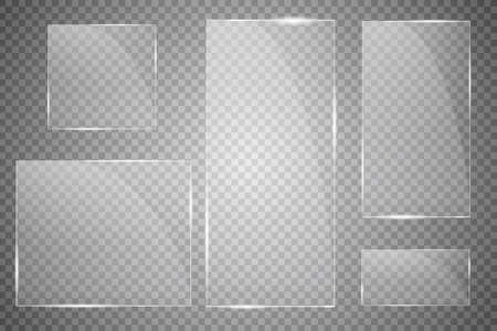 Vector modern transparent glass plates set on transparent background.