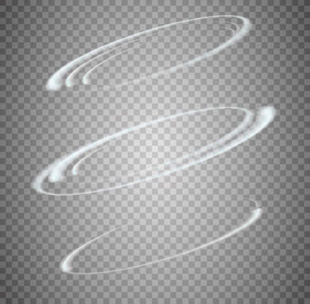 Circular lens flare transparent light effect. Abstract sparkling spark. Ellipse border. Shining shock. Rotational glow line. Power energy element. Glowing ring trace. Round shiny frame. Vector circle Ilustrace