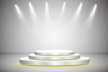 White round podium. Pedestal. Scene Vector illustration
