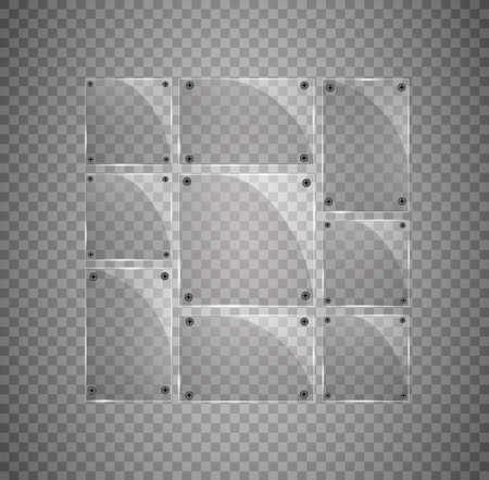 Vector modern transparent glass plates set on transparent background