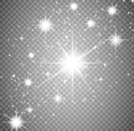 Glow light effect. Star burst with sparkles. Golden glowing lights. Vector