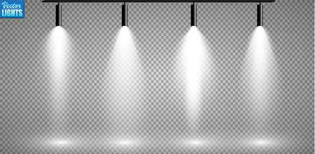 Set of searchlights on a transparent background. Bright lighting with spotlights. The searchlight is white.