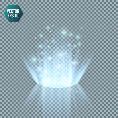 Magic fantasy portal. Futuristic teleport. Light effect. Blue candles rays of a night scene with sparks on a transparent background. Empty light effect of the podium. Disco club dancefloor. Vector