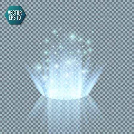 Portail fantastique magique. Téléportation futuriste. Effet lumineux. Rayons de bougies bleues d'une scène de nuit avec des étincelles sur un fond transparent. Effet de lumière vide du podium. Piste de danse discothèque. Vecteur