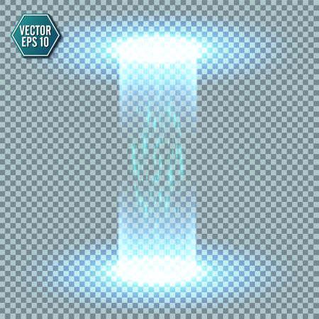 Portail fantastique magique. Téléportation futuriste. Effet lumineux. Rayons de bougies bleues d'une scène de nuit avec des étincelles sur un fond transparent. Effet de lumière vide du podium. Piste de danse discothèque. Vecteurs