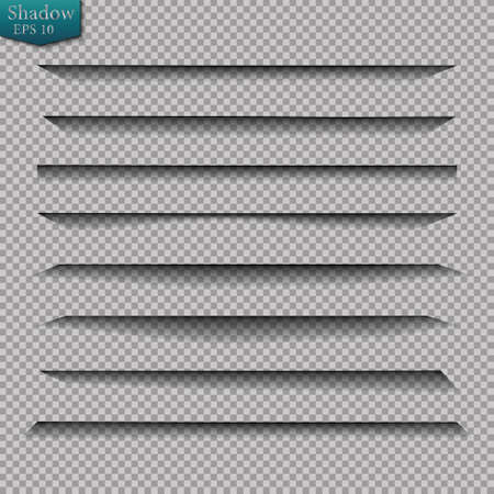 Page divider with transparent shadows isolated. Pages separation vector set. Transparent shadow realistic illustration Stock Vector - 130097944