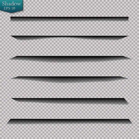 Page divider with transparent shadows isolated. Pages separation vector set. Transparent shadow realistic illustration Stock Vector - 130097946