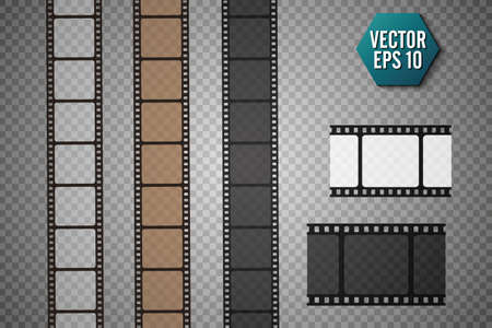 Set of vector film strip isolated on transparent background