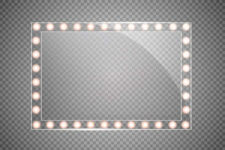 Makeup mirror isolated with gold lights. Vector square frames illustration Illustration