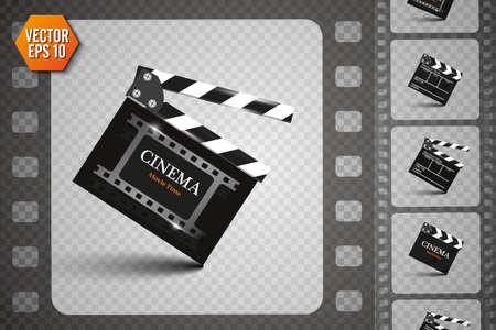 Clapper board on transparent background. Movie clapper. Illustration
