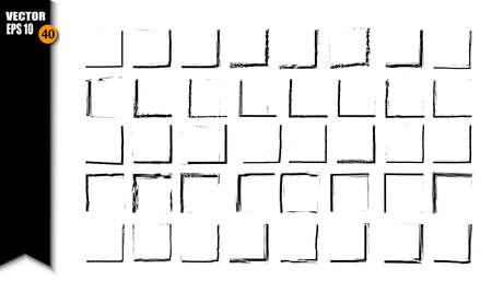 Set of black square grunge frames. Collection of geometric rectangle empty borders. Vector illustration Illustration