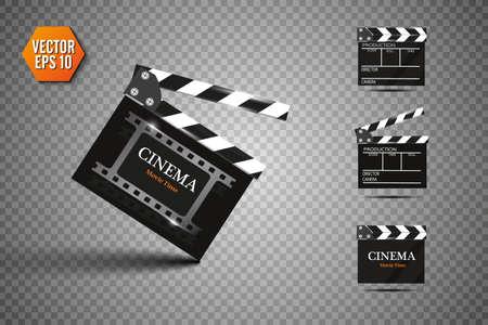 Clapper board on transparent background. Movie clapper